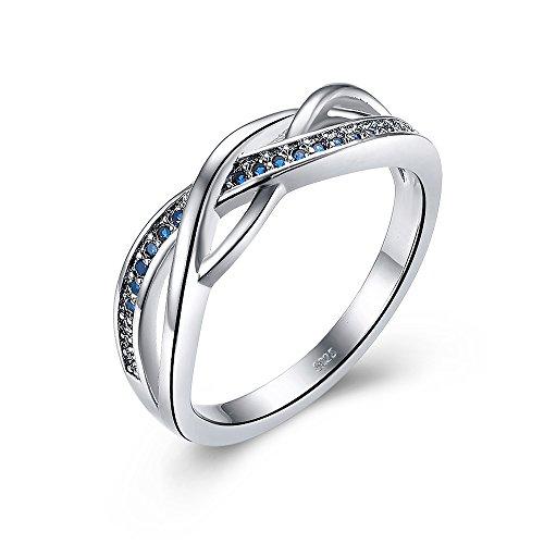 Sólido 925plata de ley celta anillos para las mujeres con zafiro azul (tamaño K a U opcional