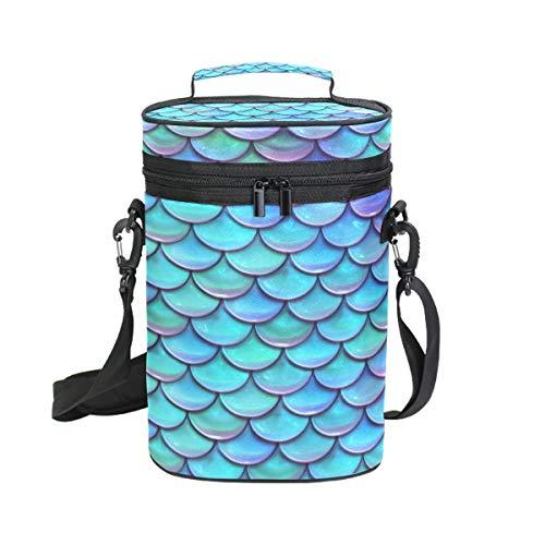 MALPLENA Weintasche mit 2 Flaschentaschen, Blau und Violett, Meerjungfrauen-Fischschuppen, attraktive Weintasche mit dicker Außenpolsterung, leicht zu transportieren für Reisen, Picknicks