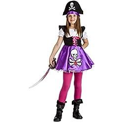 Disfraz de pirata para niña con dibujo de calavera.