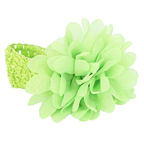 Amody Baby Blume Floral Form Chiffon stricken elastisch Kopfbedeckung grün (Baby-dusche Kit Bogen Machen)