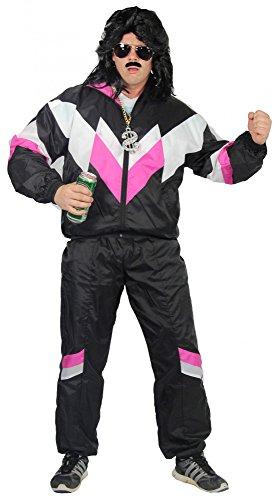 80er Jahre Trainingsanzug Kostüm für Erwachsene | schwarz pink weiß | Größe: S – XXXL - 3