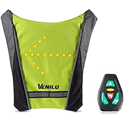 Venilu-Dorsal chaleco con LED intermitentes-3modos de control-Tirantes ajustables-Mando a distancia inalámbrico, para ciclista, corredor, para mochila
