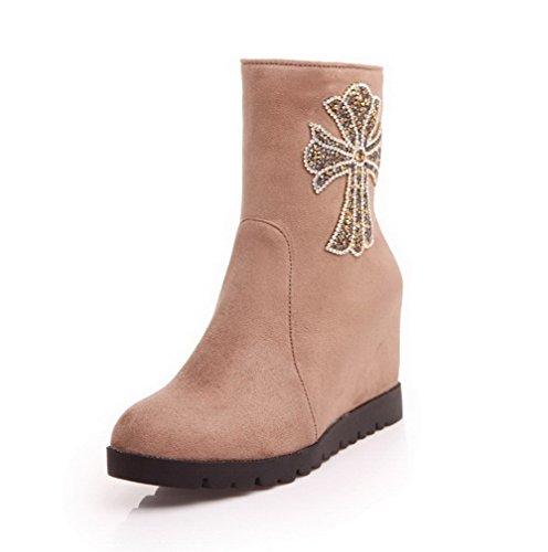 AgooLar Damen Rein Hoher Absatz Nubukleder Reißverschluss Stiefel Cremefarben