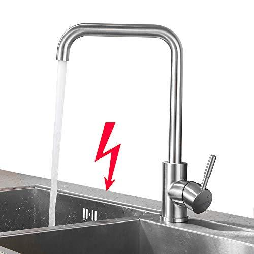 Lonheo Niederdruck Wasserhahn Küche Armatur aus Edelstahl | 360° Schwenkbar Küche Mischbatterie Einhebelmischer für Kaltwasser und einen Wasserboiler konzipiert
