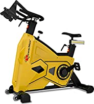 PowerMax Fitness Unisex Adult BS-3600C Commercial Group/spin Bike - Yellow/Black, One Size