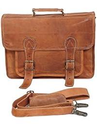 Anshika International Big Pocket Vintage Genuine Brown Leather Handmade Laptop And Messenger Bag