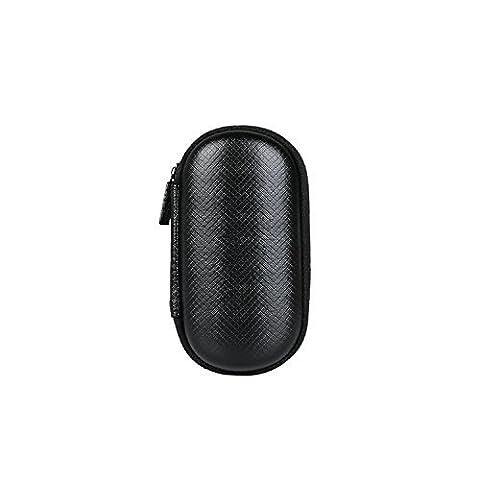 BUBM Oval Hard Carrying Case Storage Bag for Earphone / Headphone / iPod / MP3, Black