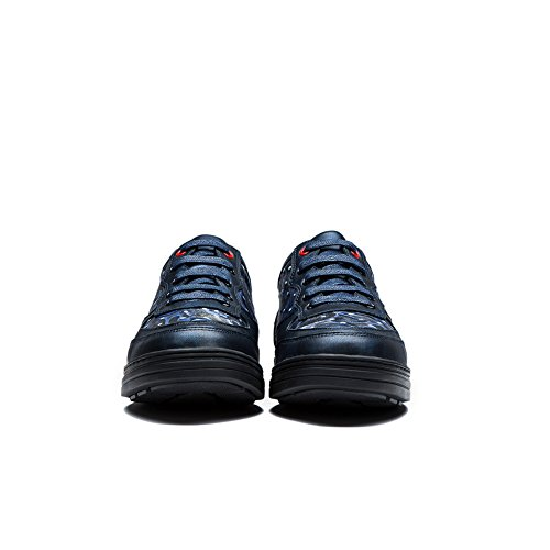 OPP Herren echte Kuh-Leder-Lace-up einzigartige Muster-Entwurf leichte Kleid-Schuhe Blau
