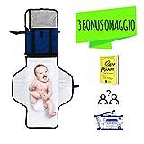 Fasciatoio Portatile Pieghevole - 【3 REGALI INCLUSI】 - Kit da Viaggio per Cambio Pannolini per Neonato - UFEEL - Materassino Imbottito Separabile - Ottima Idea Regalo