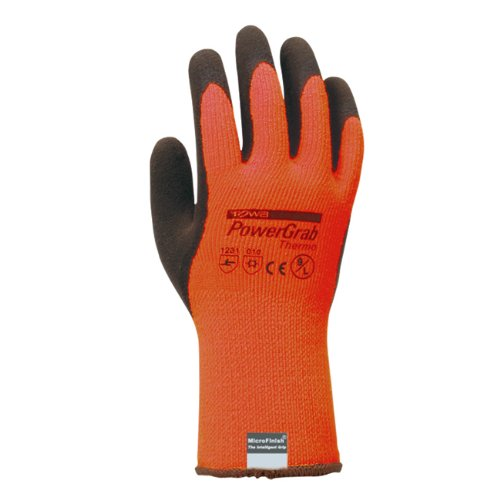 TOWA PowerGrab Thermo orange mit MicroFinish®, Größe 8, 1 Paar