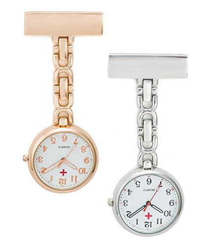 SEWOR Nurses & Doctor Luminous Hanging Pocket Watch 2pcs with Deep Blue Brand Leather Box Great Gift (Rose Gold & Silver)
