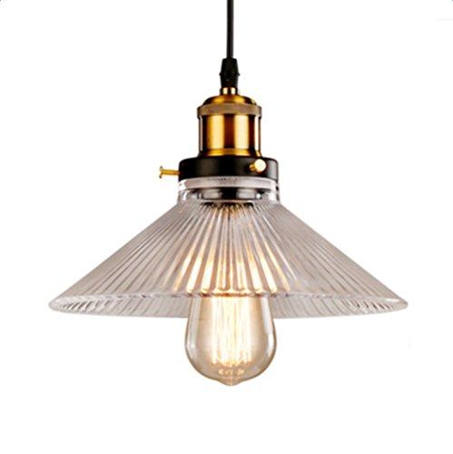 Glighone Lámpara Colgante Cristal 40W E27 Luz Vintage Lámpara de Tec