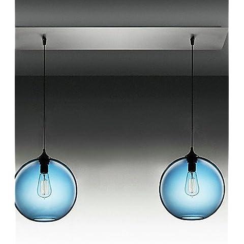 JJ Moderno LED luci pendente fixture 2 - Vetro di luce illumina Ciondolo in tondo blu Design bolla