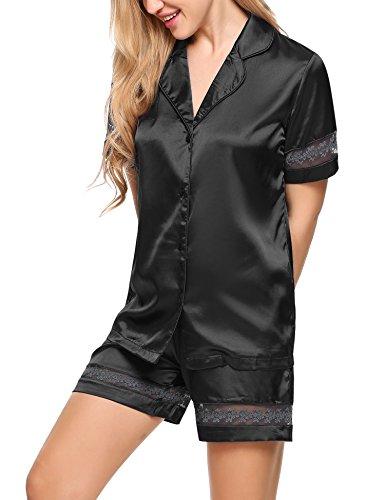Ekouaer Damen Pyjama Set Satin Schlafanzug Kurz Nachtwäsche Kurzarm Shirt Und Shorts Schwarz-1