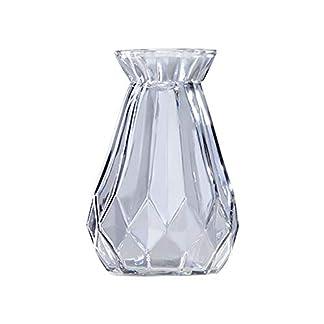 Hosaire 1X Jarrón de Cristal Floreros de Terrario Lindas Macetas de Vidrio de Sobremesa Moderno de Florero para Decoración del Hogar, de Boda,Cuadrado,Moderno Jarrón Decorativo (Gris)