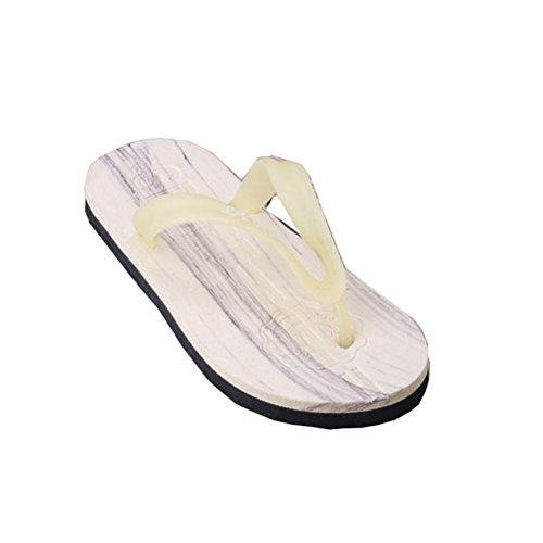 Linyuan Casual Style Wood Pattern Non-slip Men's Flip Flops Simple Summer Beach Sandals Slippers Light Yellow