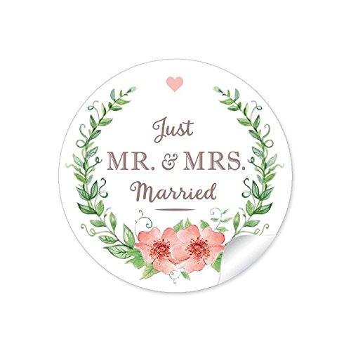 """24 STICKER: Hochzeitsaufkleber """"MR. & MRS. - Just Married"""" mit Kranz, Blüten und Herz in grün / apricot im Vintage Style zur Hochzeit • Aufkleber/ Etiketten: 4 cm, rund, matt"""