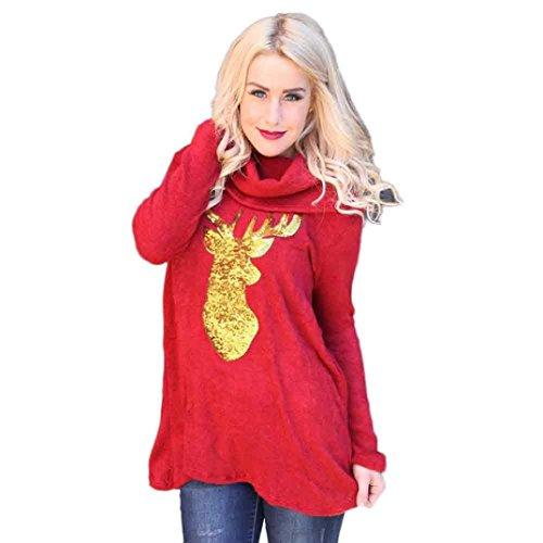 Zolimx Weihnachten Frauen Hirsch Druck Spleißen Beiläufige Bluse (Santa Xxxl Anzug)