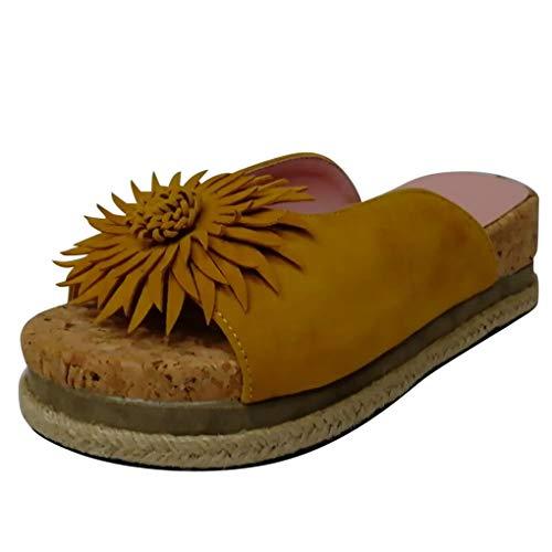 Dorical Damen Roman Slippers Espadrilles Frauen Daisy Übergrößen Flandell Wedge Peep-Toe Hausschuhe Comfort Schuhe Für Casual Strand Outdoor Garten(Z01-Gelb,39 EU)