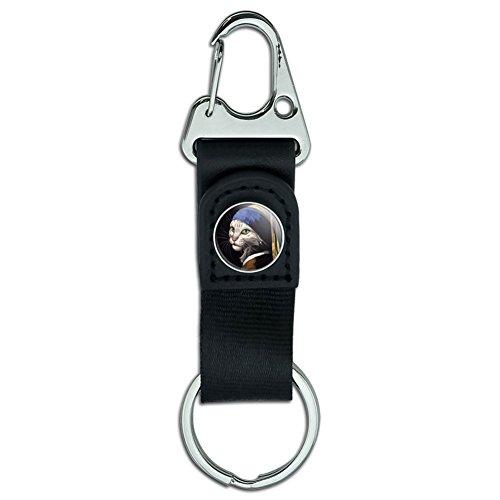 Gürtel Clip auf Karabiner Leder Stoff Schlüsselanhänger Key Ring Funny nerdigen Schnurrbart The Cat with the Pearl Earring Girl