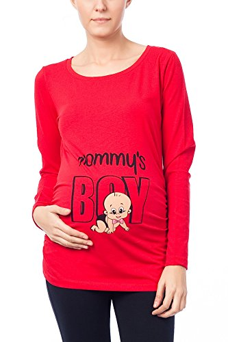 Mignon witzige umstand Mode T-shirt avec motif Grossesse – Mommys Boy à manches longues Rouge - Rouge
