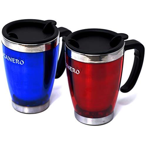 Bucanero Isolierbecher 460 ml Set 2 STK. (rot + blau) - Thermobecher mit praktischem Griff - Ideal als Kaffeebecher Autobecher Trinkbecher - Travel Mug für heiße und kalte Getränke (Set 2 STK.)