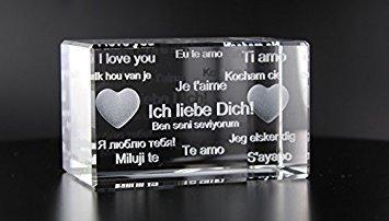 VIP-LASER 3D Glas Kristall Quader XL mit Text'Ich liebe Dich!' in verschiedenen Sprachen! Das tolle Geschenk für einen liebenden Menschen!