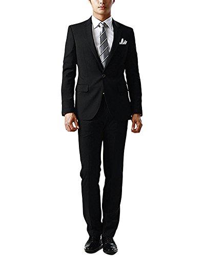 Herren Anzug 2-Teilig Slim Fit Anzugsjacke Anzugshose Hochzeit Party Einzelne Reihe einer Schnalle Schwarz L