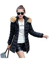 LaoZan Mujer Abrigo largo /Abrigo de invierno /parkas para invierno /Abrigos con capucha espesan chaquetas Small Negro