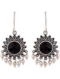 Voylla Silver Brass Work Essentials Round Cut Gem Earrings for Women