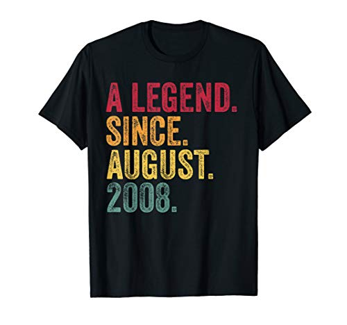 Born In August 2008 11th Birthday Gifts A Legend Awesome T-Shirt -