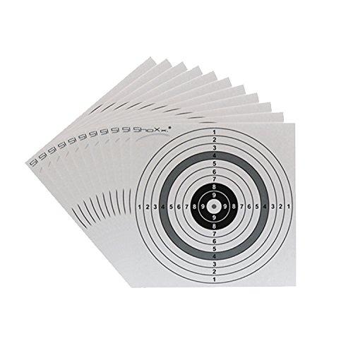 shoot-club 300 Stück Original ShoXx. Zielscheiben im Format 14x14 cm mit 250 g/m² für Luftgewehr, Luftpistole, Airsoft und CO2 Waffen - Premium Qualität - Made in Germany