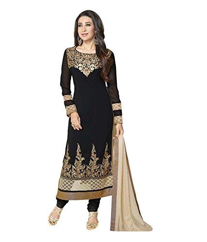 Vedant Vastram Women's Georgette Embroidered Unstitched Salwar Suit Dress Material (Black &...