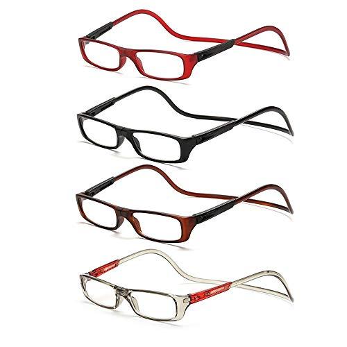3fc402d8ca ZHYY 4Pack Colgante Cuello Gafas de Lectura Presbicia Anteojos Gafas Grado  +1.0 a +4.0
