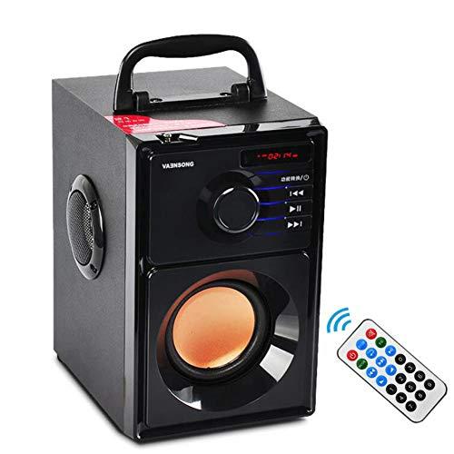 YJLOVK Bluetooth-Lautsprecher 2500mAh Holz Subwoofer Bluetooth Lautsprecher FM Radio Tragbare Lautsprecher Mp3 Spielen Super Bass Lautsprecher Computersäule