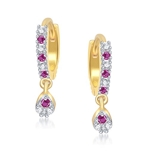 Meenaz Gold Plated Ruby Bali Fancy Party Wear Hoop Earrings 24k In American Diamond For Girls,Women Cz-B112  available at amazon for Rs.199