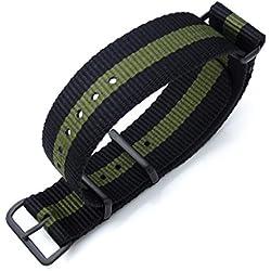 MiLTAT 20mm G10 NATO Watch Strap Ballistic Nylon Armband, PVD Black - Black & Mil Green