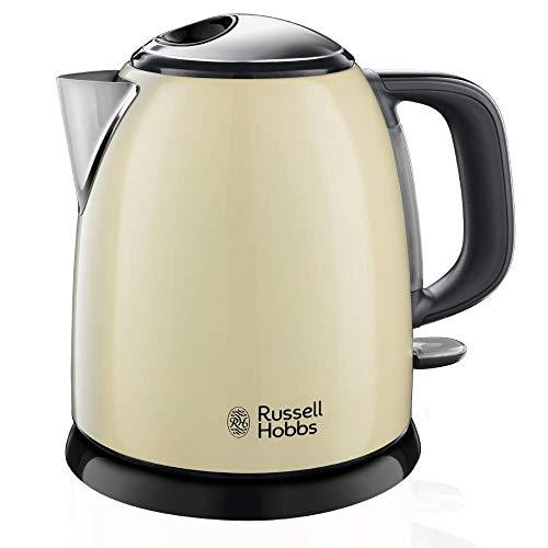 Russell Hobbs Bouilloire Compacte Colours Plus, Capacité 1 L, Ebullition Rapide, Filtre Anti-Calcaire Amovible, Lavable, Niveau d'Eau Visible - Crème 24994-70