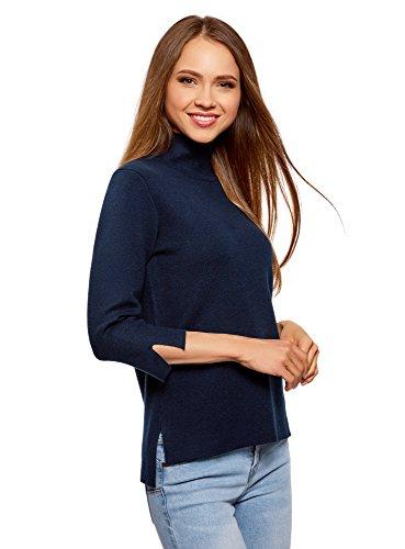 oodji Ultra Damen Pullover mit Stehkragen und 3/4-Arm, Blau, DE 36 / EU 38 / S