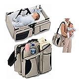 Sarplle 3 In 1 Reise Stubenwagen multifunktional Baby Wickeltasche Mutter Umhängetaschen für Flaschen, Windeln, Papiertüchern, Mobiltelefonen