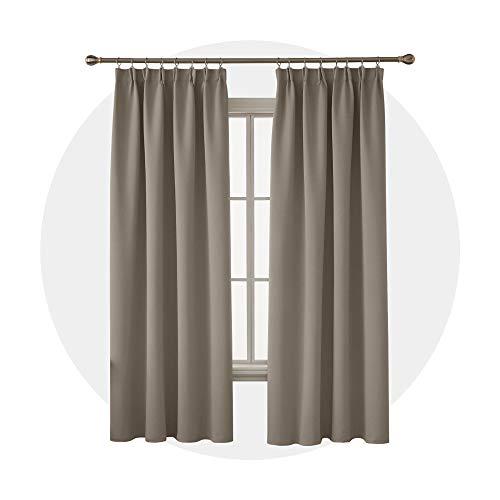 Deconovo Blickdichte Gardine mit Kräuselband Vorhang Wohnzimmer Modern 240x140 cm Taupe 2er Set