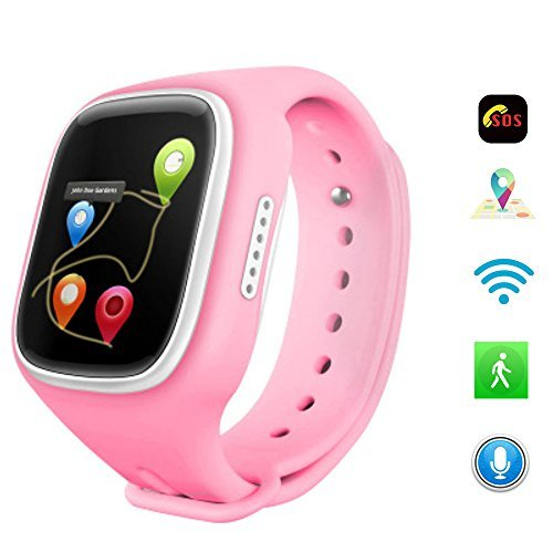 NiceCool 1.44 inch Touch Screen Wifi Anti-lost SOS GPRS Tracker Kids Smart Watch For Smartwatch A6 GPS Tracker SOS Emergency Call Telecom Monitor Wearable Devices Satellite Parent Control Android Watch Iphone Position Watch Location (Pink)