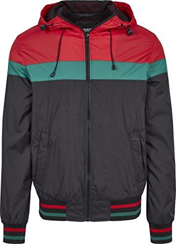 Urban Classics Herren College Windrunner Jacke, Mehrfarbig (Black/Fire Red/Green 01339), X-Large (Herstellergröße: XL) -
