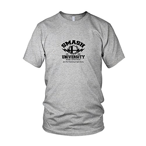64 Controller Nintendo Kostüm - Smash University - Herren T-Shirt, Größe: L, Farbe: grau meliert