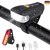 ELEHOT Faro Bici Faro Bicicletta LED Anteriore Ricaricabile USB Luce Regolabile 4 modalità Impermeabile IPX6 Batteria Litio (Nero)