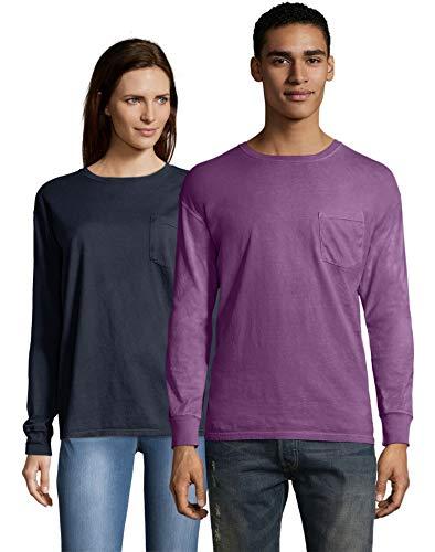Hanes Herren ComfortWash Langarm-T-Shirt mit Tasche, gefärbt Gr. S, Purple Plum Raisin (Hanes Langarm-t-shirts Für Männer)