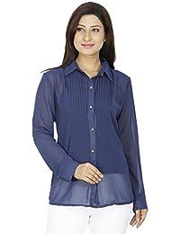 SVT ADA COLLECTIONS Georgette Navy Blue Color Designer Elegant Shirt