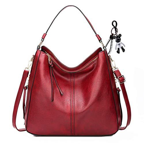 AINUOEY Femme Sacs portés main Petit Sacs portés épaule Sacs bandoulière Faux Cuir Rouge Vineux