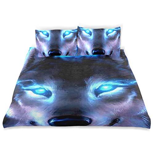 Vipsa Bettwäsche Set Wolf Muster 3-teilig 100% Baumwolle mit Reißverschluss Bio-Modern Comforter Set Full/Queen (Set Bettwäsche Bio-queen)
