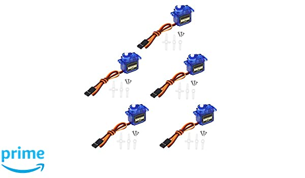 YINETTECH 5pcs 9G of Steering Gear Micro Servo For Car Helicopter Plane Boat Remote Control With Rudder Screw